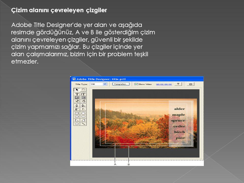 Çizim alanını çevreleyen çizgiler Adobe Title Designer'de yer alan ve aşağıda resimde gördüğünüz, A ve B ile gösterdiğim çizim alanını çevreleyen çizg