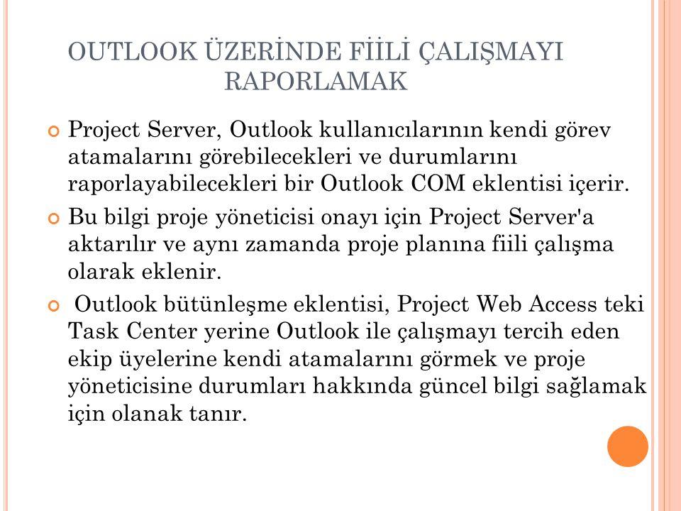 OUTLOOK ÜZERİNDE FİİLİ ÇALIŞMAYI RAPORLAMAK Project Server, Outlook kullanıcılarının kendi görev atamalarını görebilecekleri ve durumlarını raporlayabilecekleri bir Outlook COM eklentisi içerir.