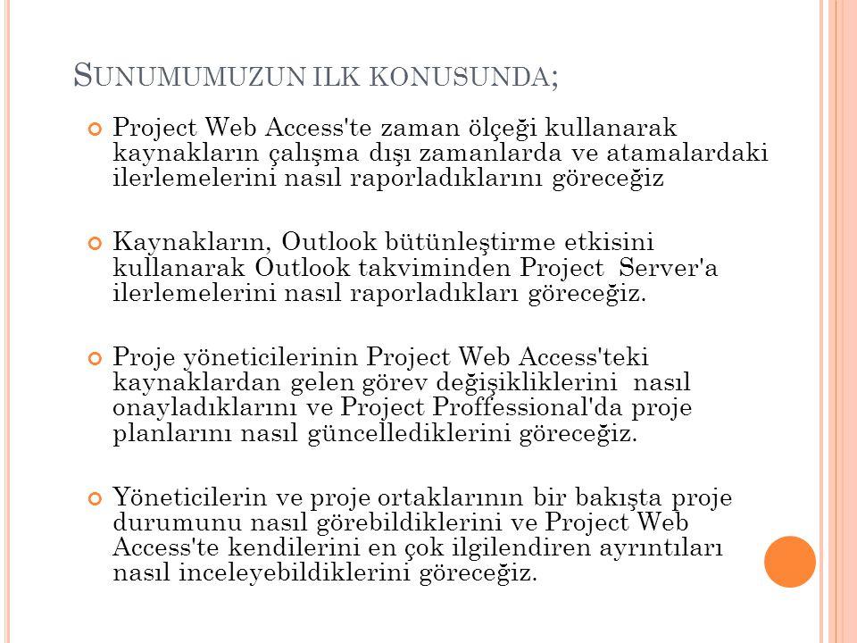 PROJECT SERVER İLE RİSKLERİ KONULARI VE BELGELERİ YÖNETMEK Bu bölümde öğreneceklerimiz; Project Web Access bir risk oluşturmak ve bunu proje ile ilişkilendirmek.