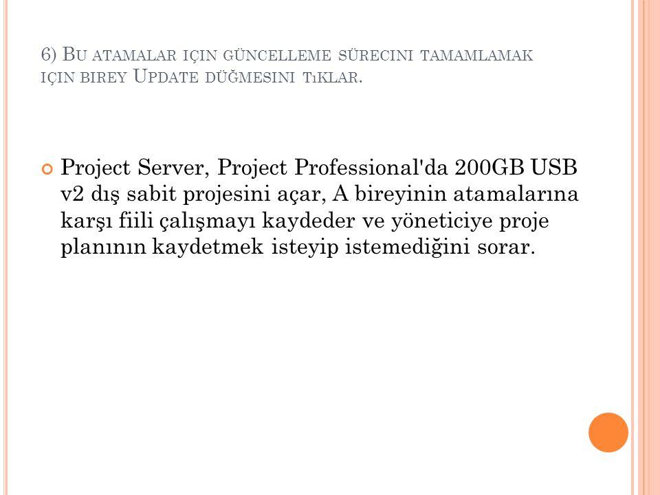 6) B U ATAMALAR IÇIN GÜNCELLEME SÜRECINI TAMAMLAMAK IÇIN BIREY U PDATE DÜĞMESINI TıKLAR. Project Server, Project Professional'da 200GB USB v2 dış sabi