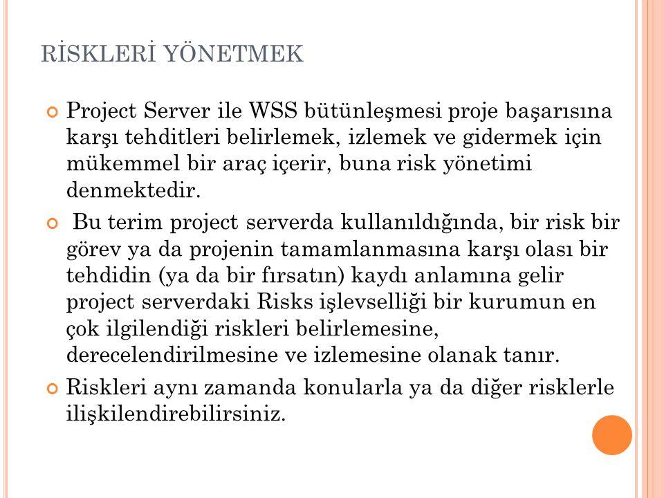 RİSKLERİ YÖNETMEK Project Server ile WSS bütünleşmesi proje başarısına karşı tehditleri belirlemek, izlemek ve gidermek için mükemmel bir araç içerir, buna risk yönetimi denmektedir.
