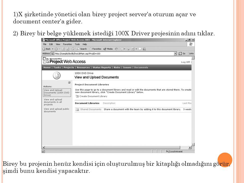 1)X şirketinde yönetici olan birey project server'a oturum açar ve document center'a gider. 2) Birey bir belge yüklemek istediği 100X Driver projesini