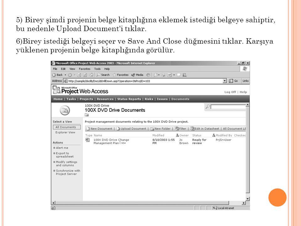 5) Birey şimdi projenin belge kitaplığına eklemek istediği belgeye sahiptir, bu nedenle Upload Document'i tıklar. 6)Birey istediği belgeyi seçer ve Sa