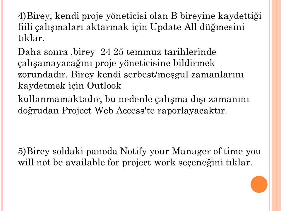 4)Birey, kendi proje yöneticisi olan B bireyine kaydettiği fiili çalışmaları aktarmak için Update All düğmesini tıklar. Daha sonra,birey 24 25 temmuz