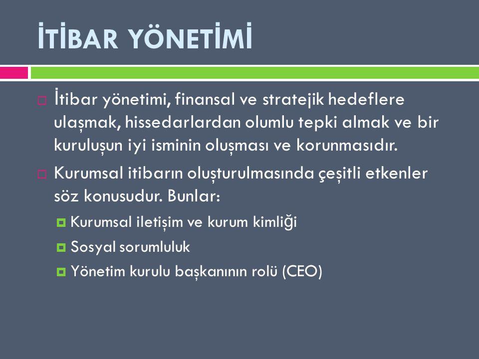 İ T İ BAR YÖNET İ M İ  İ tibar yönetimi, finansal ve stratejik hedeflere ulaşmak, hissedarlardan olumlu tepki almak ve bir kuruluşun iyi isminin oluşması ve korunmasıdır.