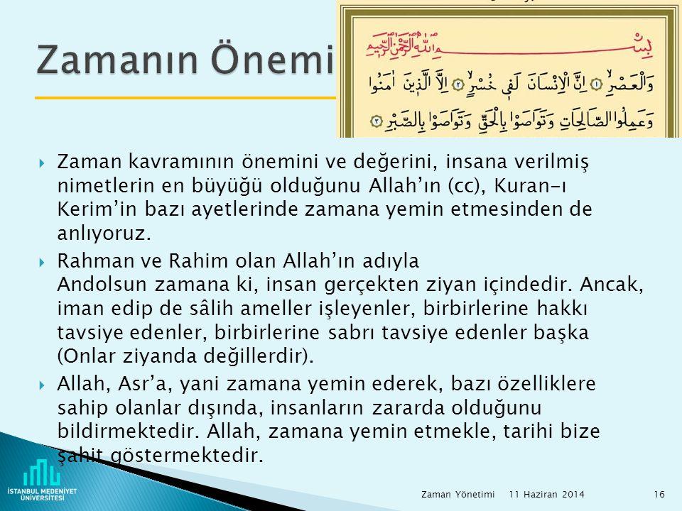  Zaman kavramının önemini ve değerini, insana verilmiş nimetlerin en büyüğü olduğunu Allah'ın (cc), Kuran-ı Kerim'in bazı ayetlerinde zamana yemin et