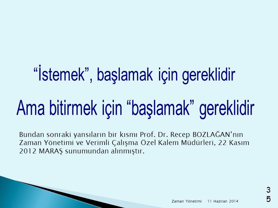 11 Haziran 2014 Zaman Yönetimi35 Bundan sonraki yansıların bir kısmı Prof. Dr. Recep BOZLAĞAN'nın Zaman Yönetimi ve Verimli Çalışma Özel Kalem Müdürle
