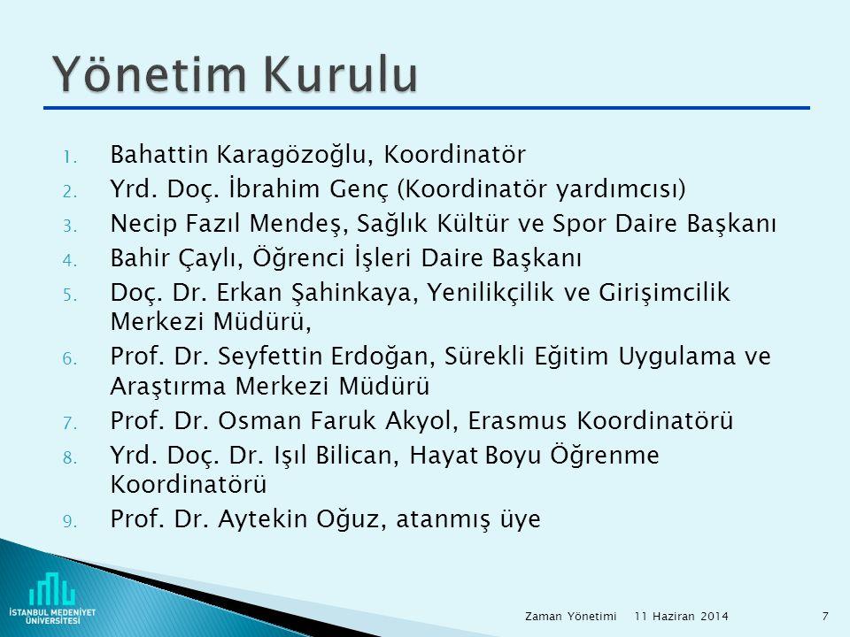 1. Bahattin Karagözoğlu, Koordinatör 2. Yrd. Doç. İbrahim Genç (Koordinatör yardımcısı) 3. Necip Fazıl Mendeş, Sağlık Kültür ve Spor Daire Başkanı 4.