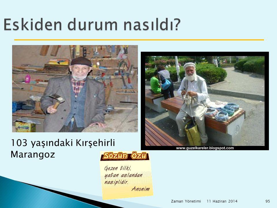 11 Haziran 2014 Zaman Yönetimi95 Eskiden durum nasıldı? 103 yaşındaki Kırşehirli Marangoz