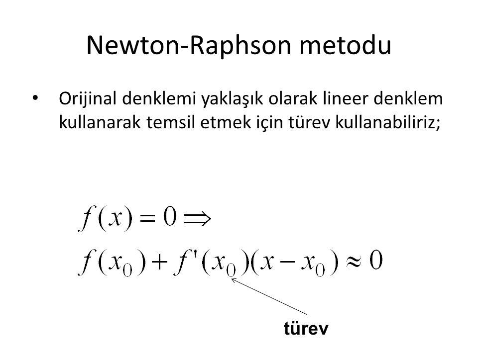 Newton-Raphson metodu Orijinal denklemi yaklaşık olarak lineer denklem kullanarak temsil etmek için türev kullanabiliriz; türev