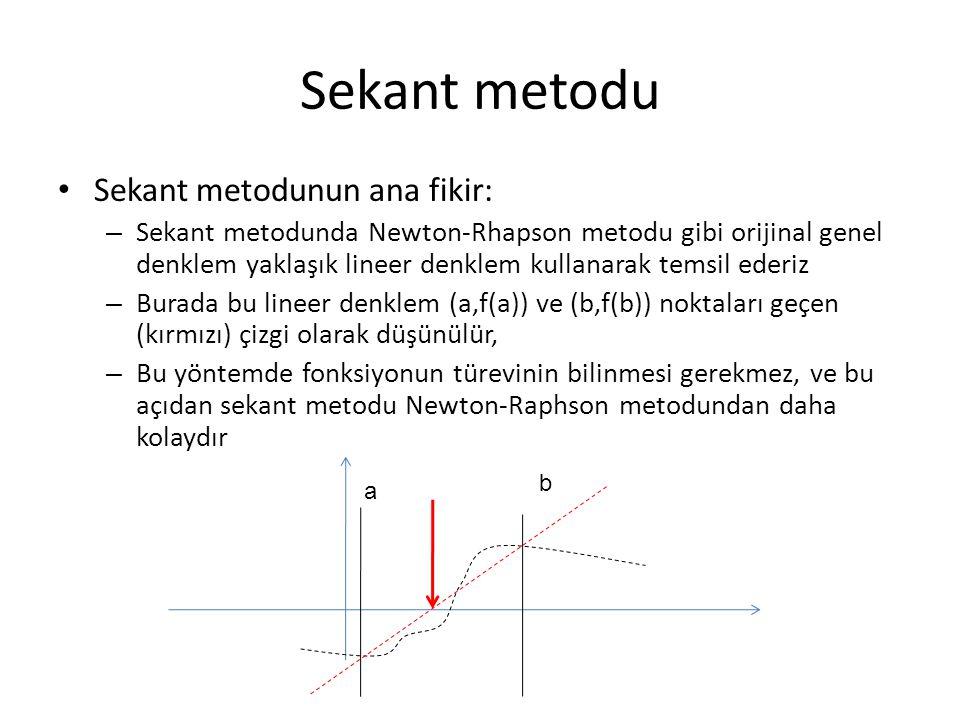 Sekant metodu Sekant metodunun ana fikir: – Sekant metodunda Newton-Rhapson metodu gibi orijinal genel denklem yaklaşık lineer denklem kullanarak tems