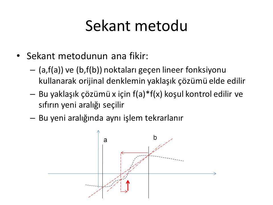 Sekant metodu Sekant metodunun ana fikir: – (a,f(a)) ve (b,f(b)) noktaları geçen lineer fonksiyonu kullanarak orijinal denklemin yaklaşık çözümü elde