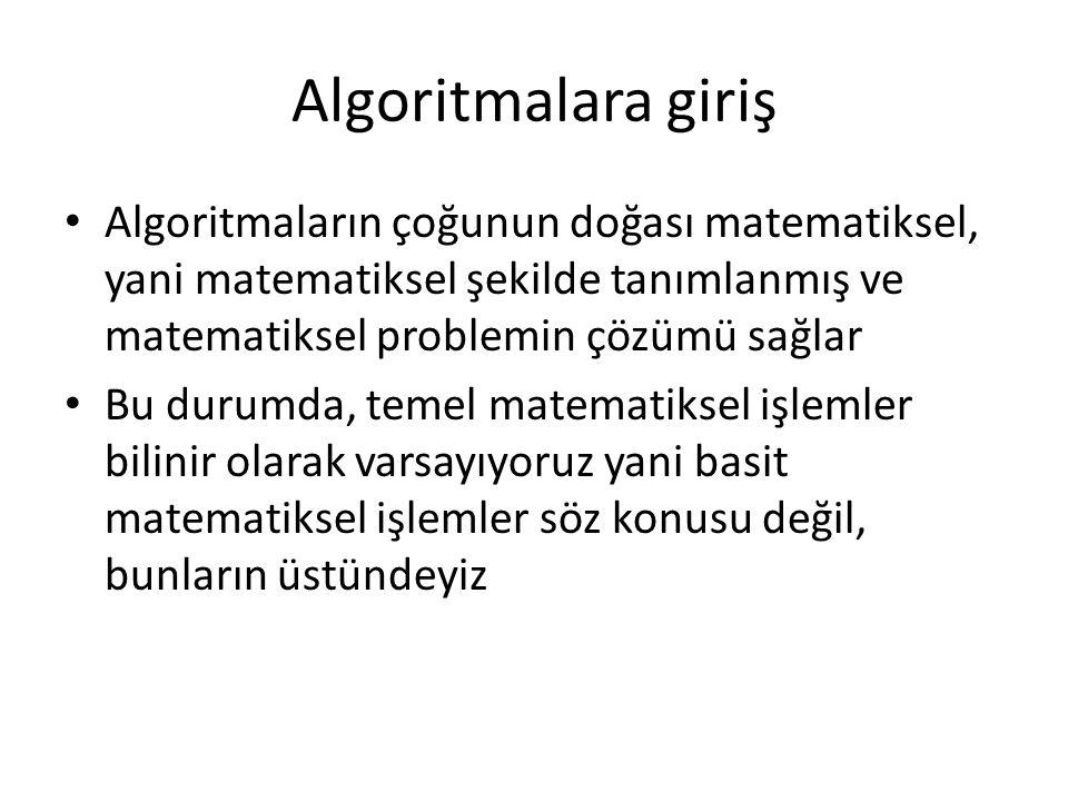Algoritmalara giriş Matematiksel problemler arasında en temel olan biri genel denklem çözme