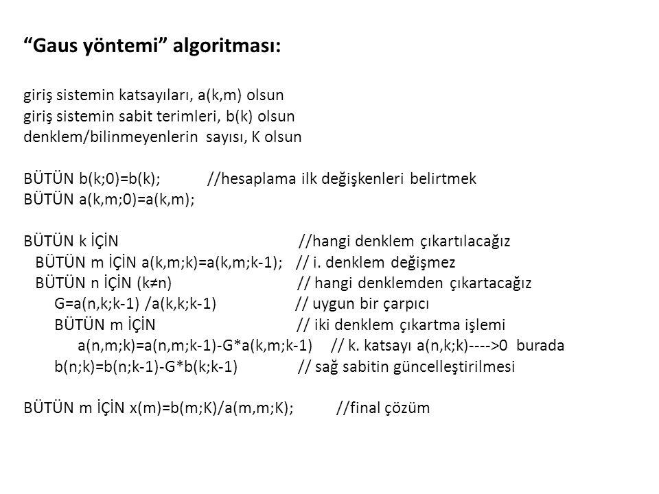 """""""Gaus yöntemi"""" algoritması: giriş sistemin katsayıları, a(k,m) olsun giriş sistemin sabit terimleri, b(k) olsun denklem/bilinmeyenlerin sayısı, K olsu"""