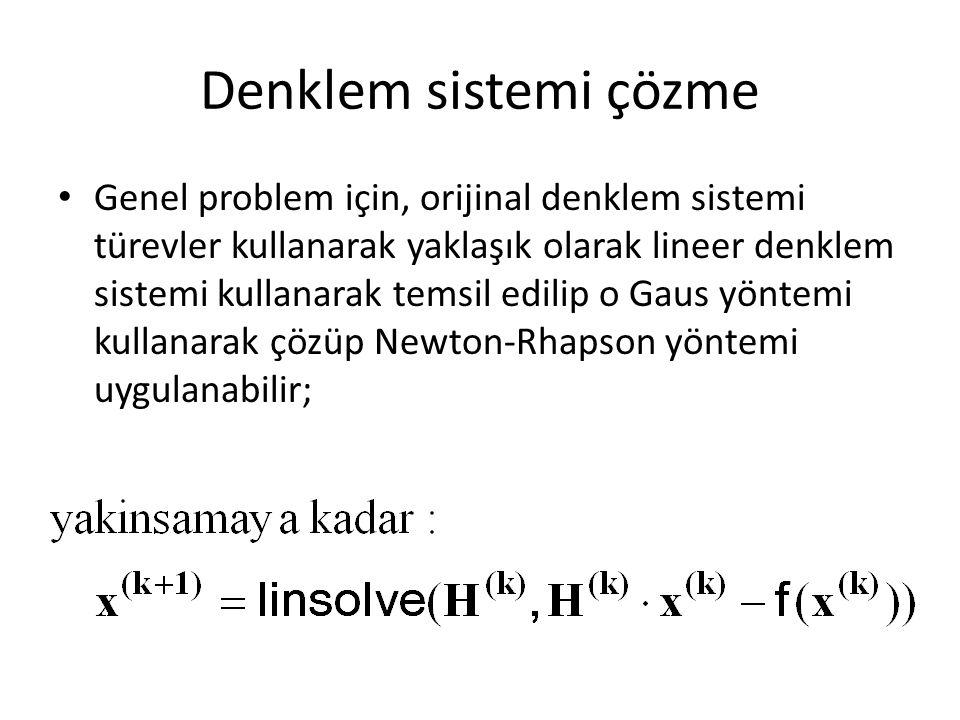 Denklem sistemi çözme Genel problem için, orijinal denklem sistemi türevler kullanarak yaklaşık olarak lineer denklem sistemi kullanarak temsil edilip