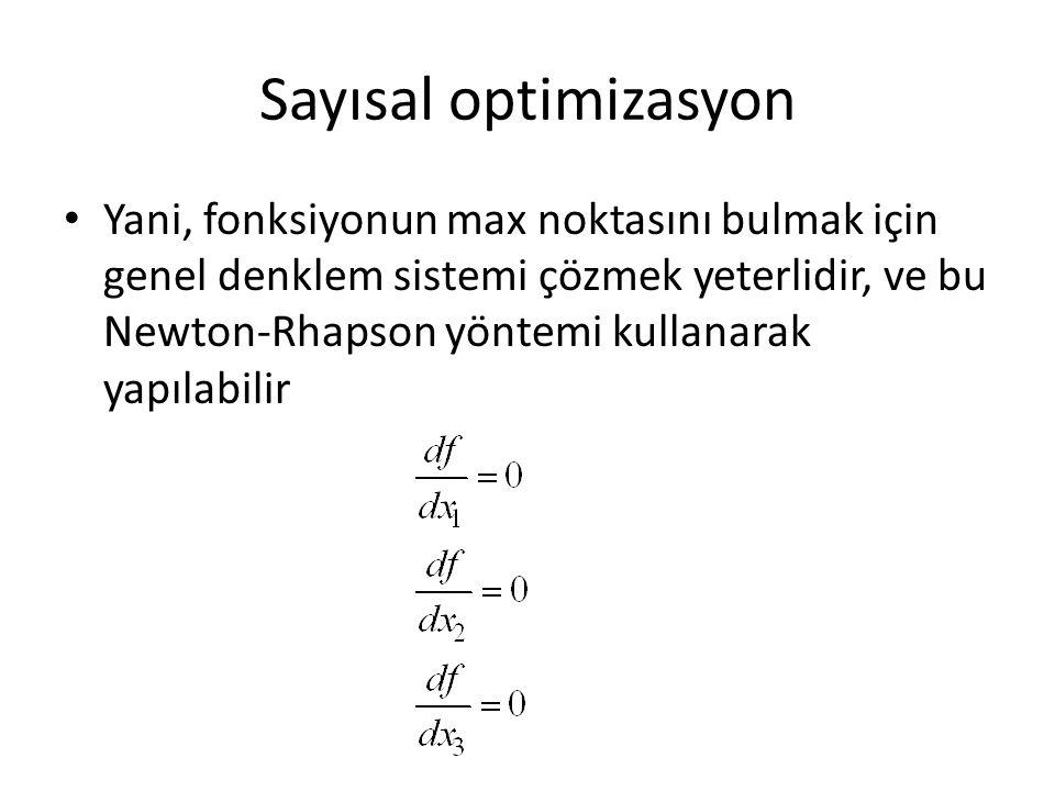 Sayısal optimizasyon Yani, fonksiyonun max noktasını bulmak için genel denklem sistemi çözmek yeterlidir, ve bu Newton-Rhapson yöntemi kullanarak yapı