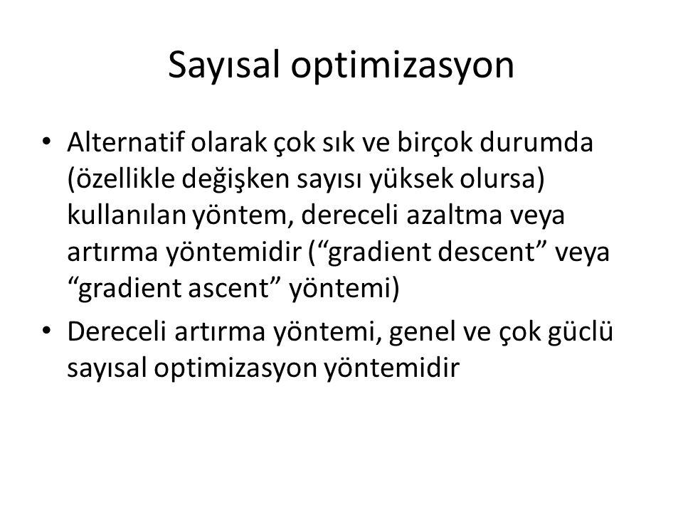Sayısal optimizasyon Alternatif olarak çok sık ve birçok durumda (özellikle değişken sayısı yüksek olursa) kullanılan yöntem, dereceli azaltma veya ar