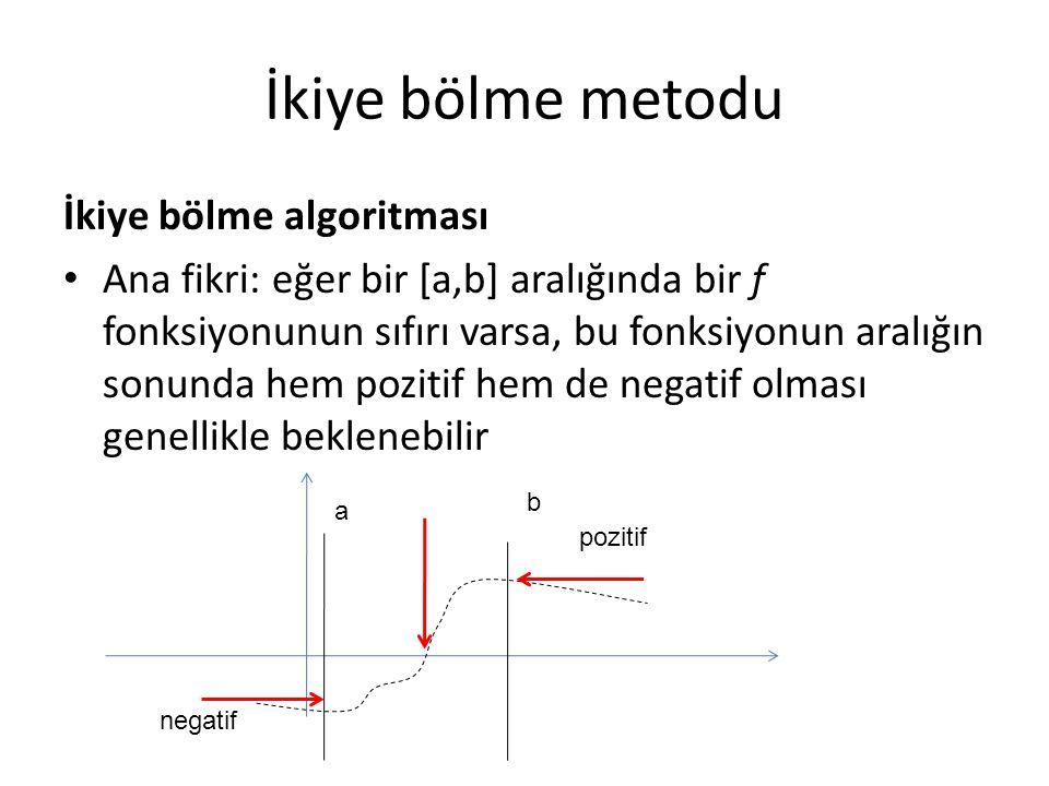 İkiye bölme metodu İkiye bölme algoritması Sıfır noktasını bulmak için, arama aralığını ikiye bölünce hangi tarafta f(a')*f(b')<0 koşulun doğruluğunu kontrol ederiz, o tarafta sıfır aramaya devam ederiz a b negatif pozitif