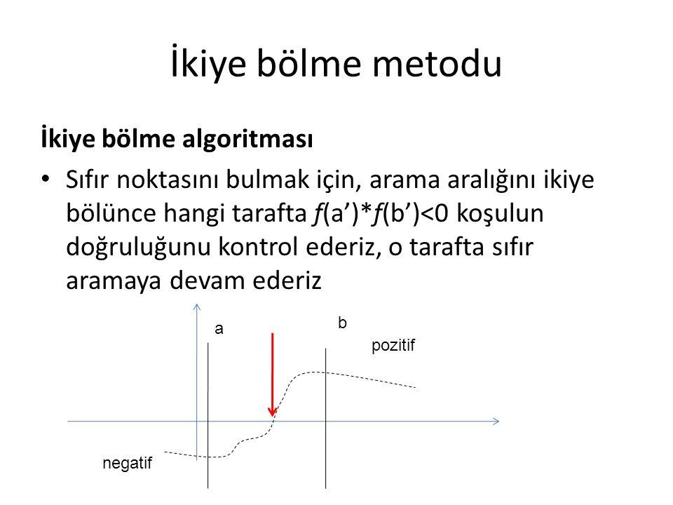 İkiye bölme metodu İkiye bölme algoritması Sıfır noktasını bulmak için, arama aralığını ikiye bölünce hangi tarafta f(a')*f(b')<0 koşulun doğruluğunu
