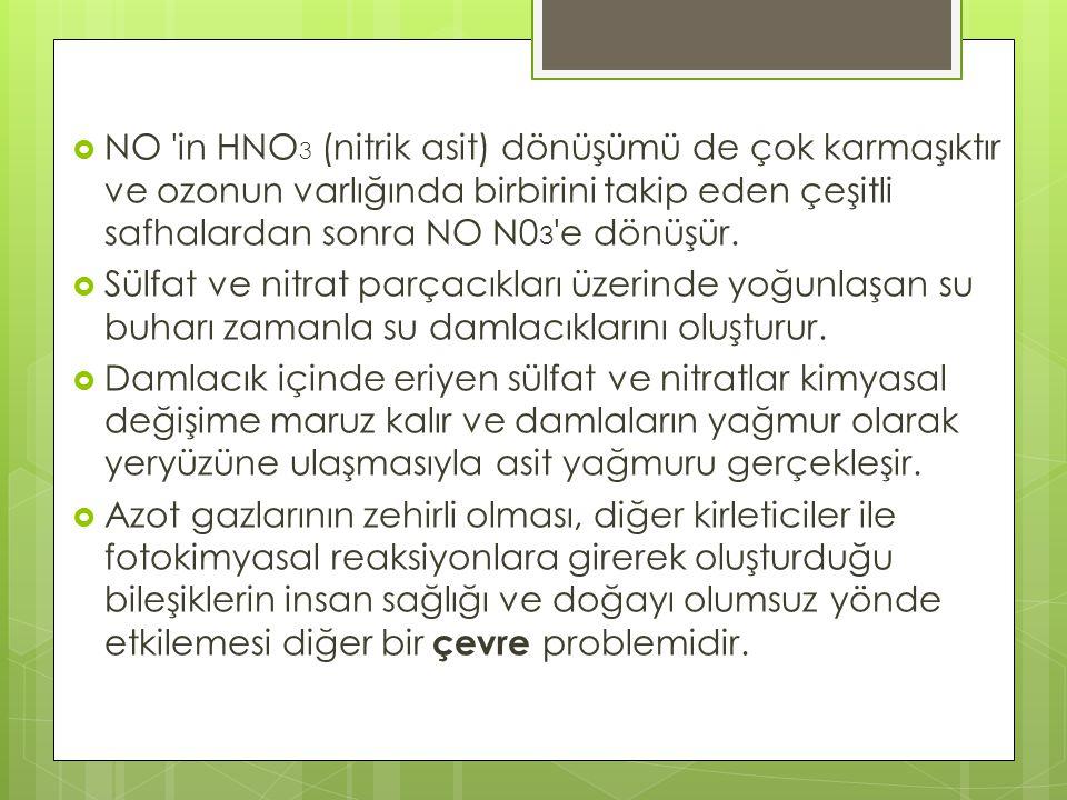  NO 'in HNO 3 (nitrik asit) dönüşümü de çok karmaşıktır ve ozonun varlığında birbirini takip eden çeşitli safhalardan sonra NO N0 3 'e dönüşür.  Sül