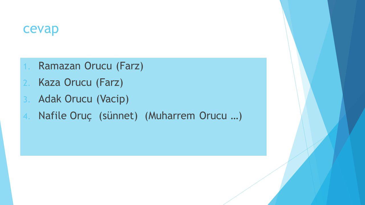 cevap 1. Ramazan Orucu (Farz) 2. Kaza Orucu (Farz) 3. Adak Orucu (Vacip) 4. Nafile Oruç (sünnet) (Muharrem Orucu …)