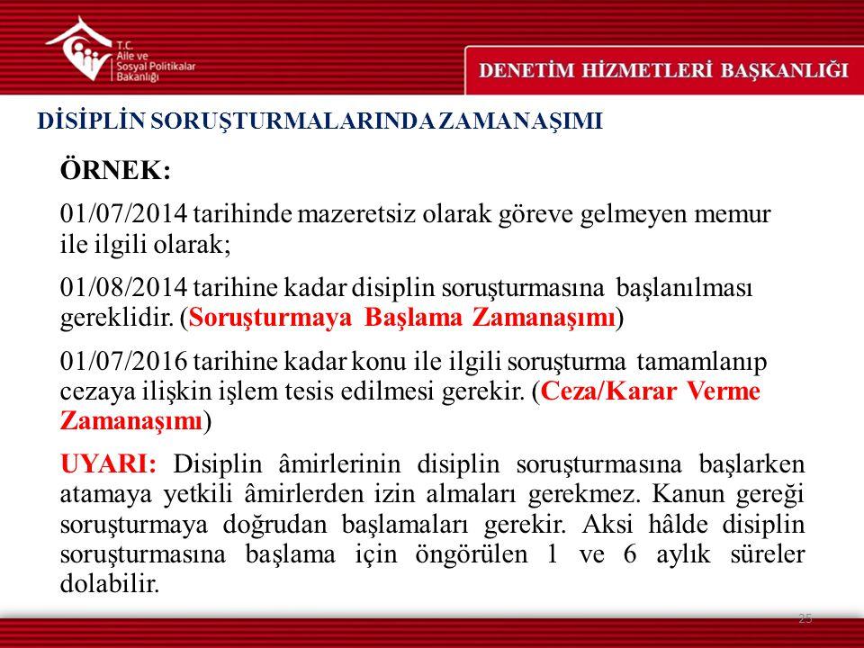 ÖRNEK: 01/07/2014 tarihinde mazeretsiz olarak göreve gelmeyen memur ile ilgili olarak; 01/08/2014 tarihine kadar disiplin soruşturmasına başlanılması