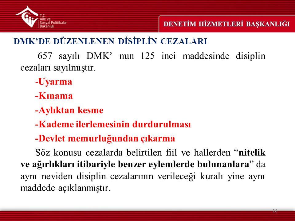 DMK'DE DÜZENLENEN DİSİPLİN CEZALARI 657 sayılı DMK' nun 125 inci maddesinde disiplin cezaları sayılmıştır. -Uyarma -Kınama -Aylıktan kesme -Kademe ile