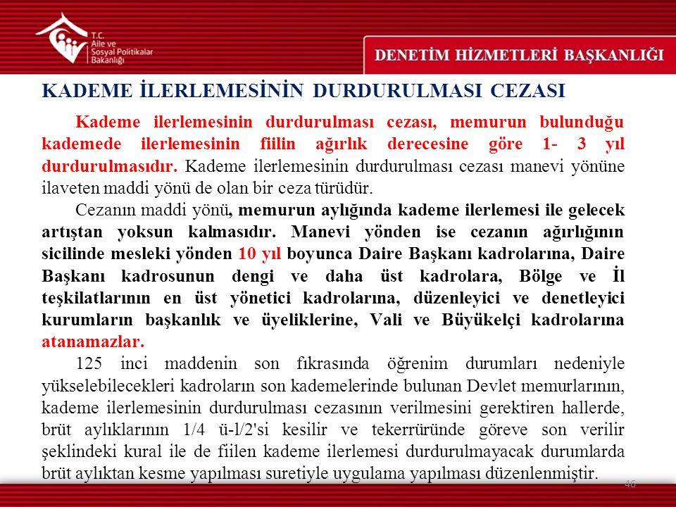 KADEME İLERLEMESİNİN DURDURULMASI CEZASI 46 Kademe ilerlemesinin durdurulması cezası, memurun bulunduğu kademede ilerlemesinin fiilin ağırlık derecesi