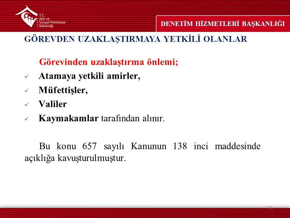 GÖREVDEN UZAKLAŞTIRMAYA YETKİLİ OLANLAR 71 Görevinden uzaklaştırma önlemi; Atamaya yetkili amirler, Müfettişler, Valiler Kaymakamlar tarafından alınır