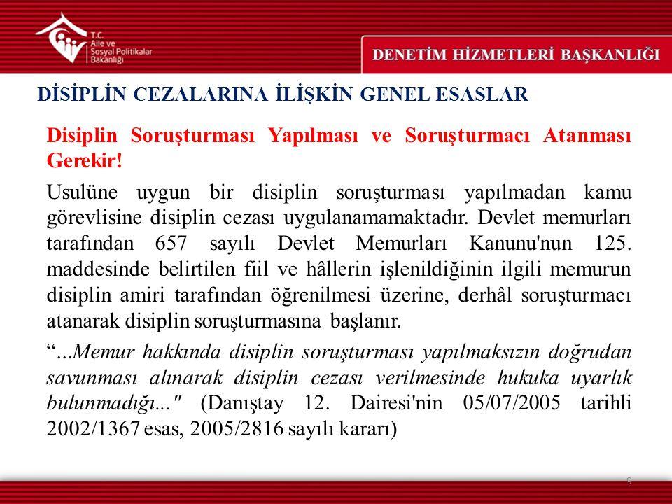 Disiplin Soruşturması Yapılması ve Soruşturmacı Atanması Gerekir! Usulüne uygun bir disiplin soruşturması yapılmadan kamu görevlisine disiplin cezası