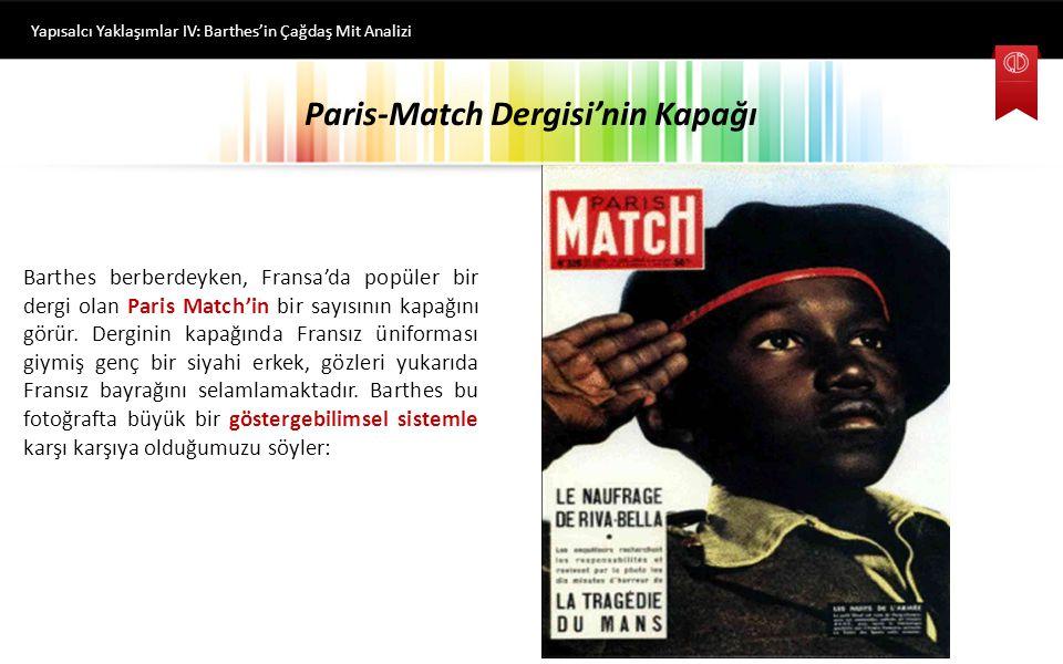 Konu Başlıklarımız Yapısalcı Yaklaşımlar IV: Barthes'in Çağdaş Mit Analizi o Paris-Match Dergisi'nin Kapağı o Barthes Göstergebiliminde Düz Anlam / Yananlam o Bir 'Mit Gömüsü' olarak Elle Dergisi Çağdaş Mitler