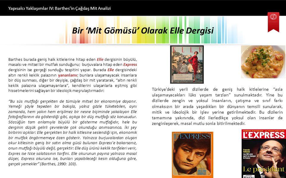 Bir 'Mit Gömüsü' Olarak Elle Dergisi Yapısalcı Yaklaşımlar IV: Barthes'in Çağdaş Mit Analizi Barthes bir diğer örneği yine Fransa'da popüler olan Elle ve Express dergilerinden verir.