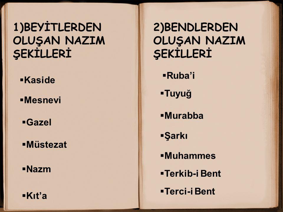 1)BEYİTLERDEN OLUŞAN NAZIM ŞEKİLLERİ 2)BENDLERDEN OLUŞAN NAZIM ŞEKİLLERİ  Mesnevi  Kaside  Gazel  Nazm  Kıt'a  Ruba'i  Tuyuğ  Murabba  Şarkı