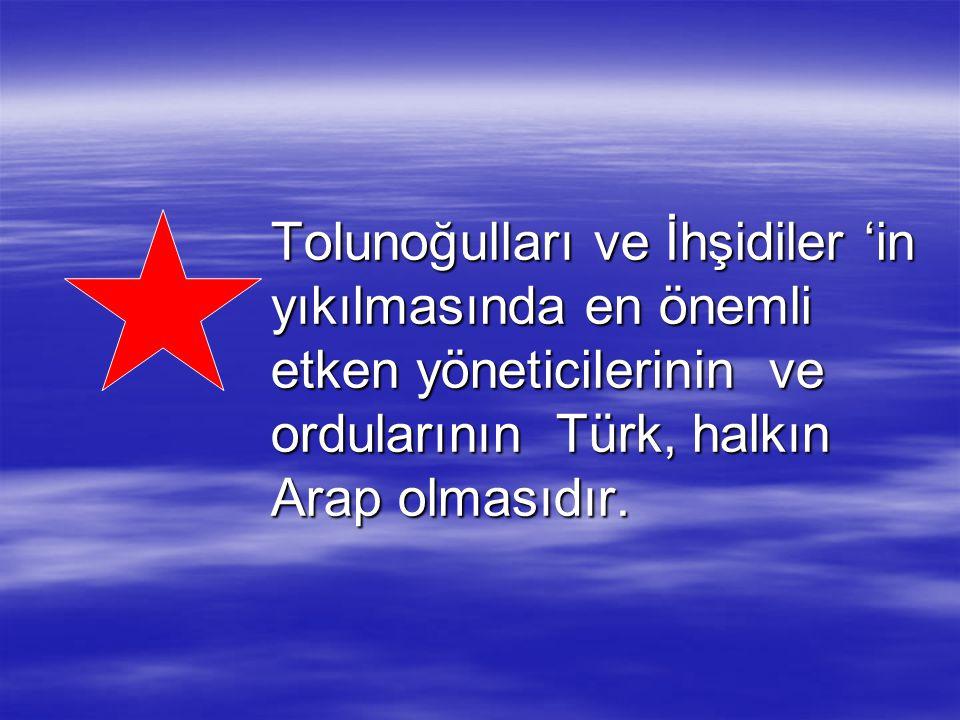 Tolunoğulları ve İhşidiler 'in yıkılmasında en önemli etken yöneticilerinin ve ordularının Türk, halkın Arap olmasıdır.