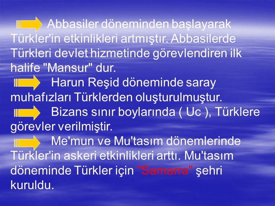 Abbasiler döneminden başlayarak Türkler'in etkinlikleri artmıştır. Abbasilerde Türkleri devlet hizmetinde görevlendiren ilk halife