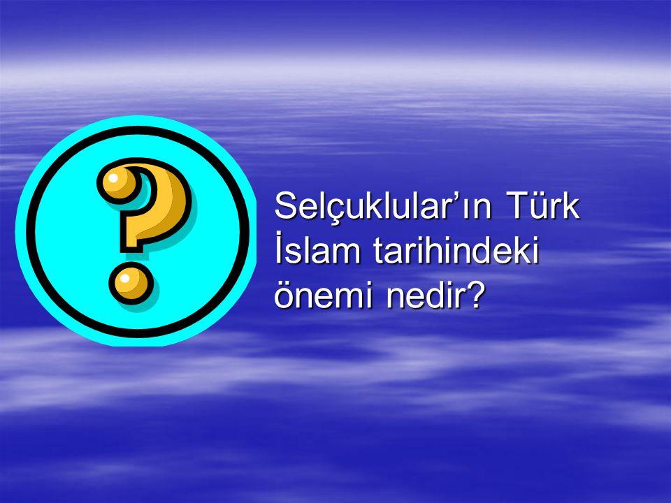 Selçuklular'ın Türk İslam tarihindeki önemi nedir?