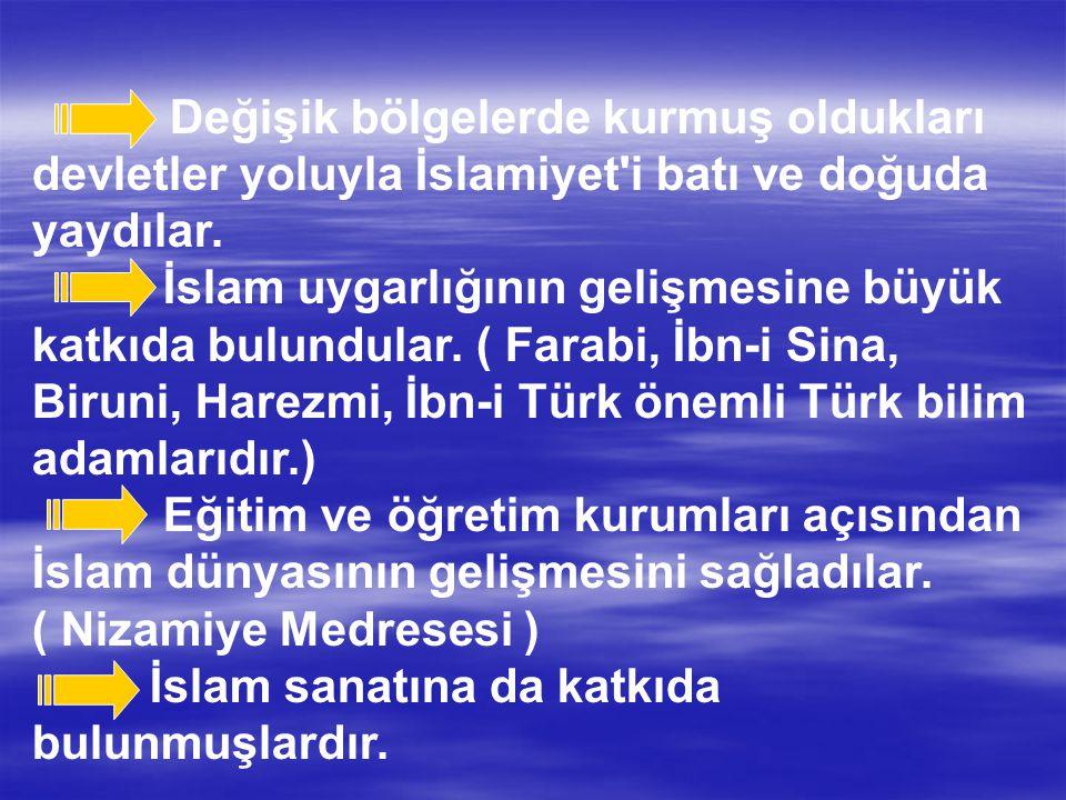 Değişik bölgelerde kurmuş oldukları devletler yoluyla İslamiyet'i batı ve doğuda yaydılar. İslam uygarlığının gelişmesine büyük katkıda bulundular. (