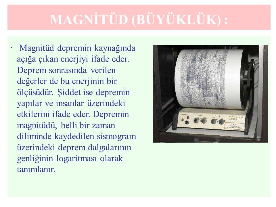 MAGNİTÜD (BÜYÜKLÜK) :. Magnitüd depremin kaynağında açığa çıkan enerjiyi ifade eder. Deprem sonrasında verilen değerler de bu enerjinin bir ölçüsüdür.