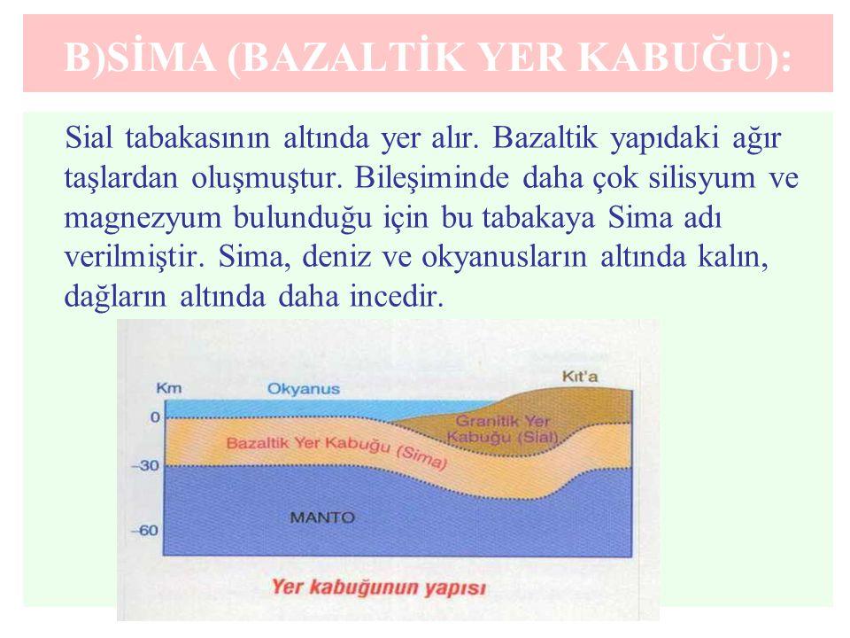B)SİMA (BAZALTİK YER KABUĞU): Sial tabakasının altında yer alır. Bazaltik yapıdaki ağır taşlardan oluşmuştur. Bileşiminde daha çok silisyum ve magnezy