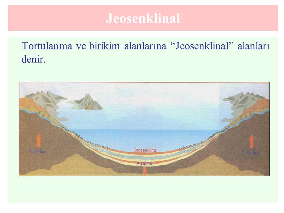 """Jeosenklinal Tortulanma ve birikim alanlarına """"Jeosenklinal"""" alanları denir."""