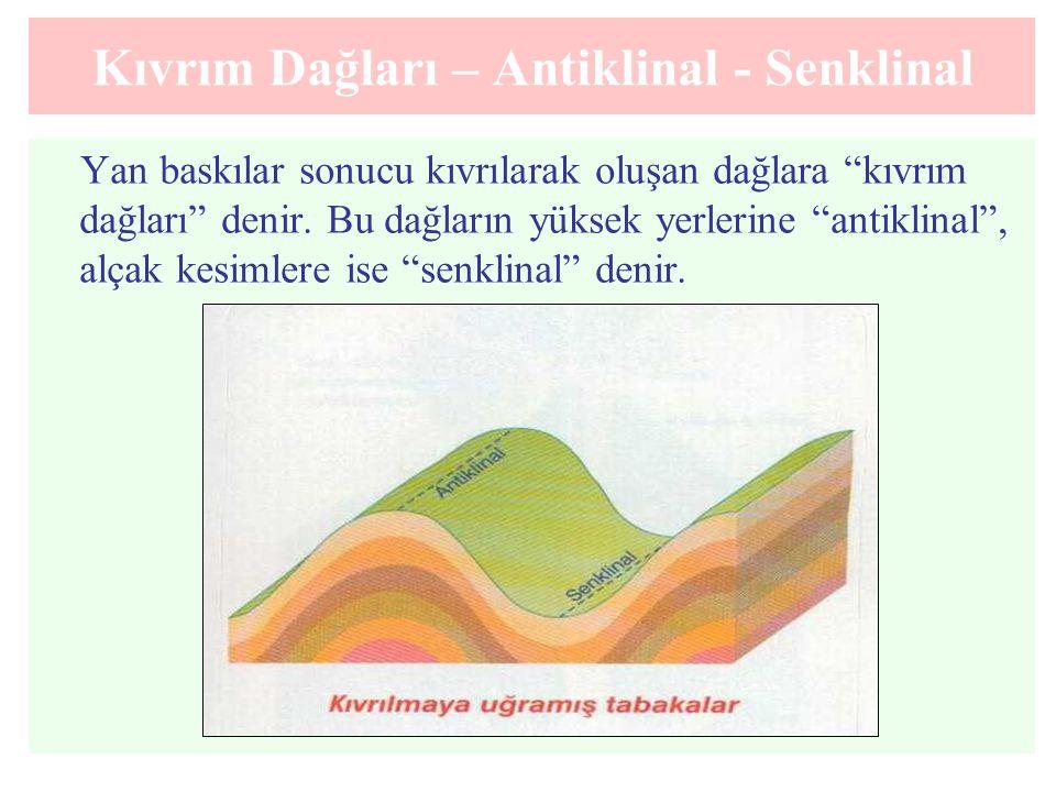 """Kıvrım Dağları – Antiklinal - Senklinal Yan baskılar sonucu kıvrılarak oluşan dağlara """"kıvrım dağları"""" denir. Bu dağların yüksek yerlerine """"antiklinal"""
