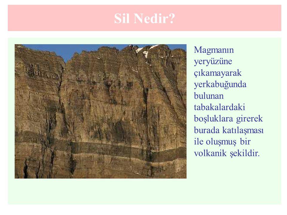 Sil Nedir?. Magmanın yeryüzüne çıkamayarak yerkabuğunda bulunan tabakalardaki boşluklara girerek burada katılaşması ile oluşmuş bir volkanik şekildir.