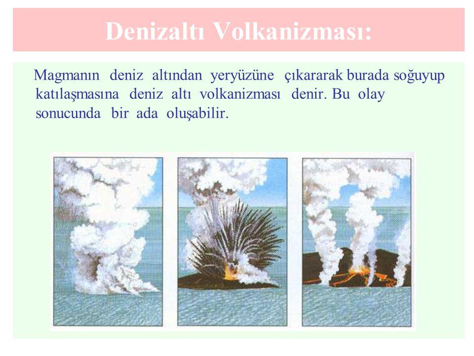 Denizaltı Volkanizması: Magmanın deniz altından yeryüzüne çıkararak burada soğuyup katılaşmasına deniz altı volkanizması denir. Bu olay sonucunda bir