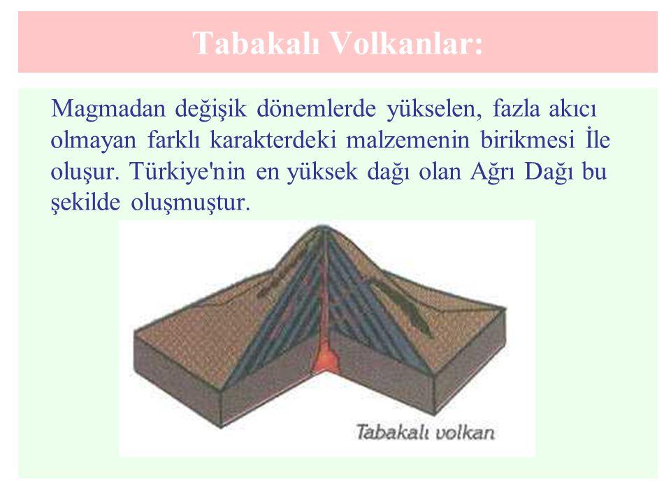 Tabakalı Volkanlar: Magmadan değişik dönemlerde yükselen, fazla akıcı olmayan farklı karakterdeki malzemenin birikmesi İle oluşur. Türkiye'nin en yüks