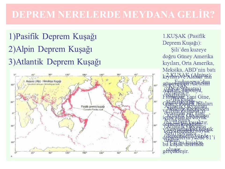 DEPREM NERELERDE MEYDANA GELİR? 1)Pasifik Deprem Kuşağı 2)Alpin Deprem Kuşağı 3)Atlantik Deprem Kuşağı 1.KUŞAK (Pasifik Deprem Kuşağı): Şili'den kuzey