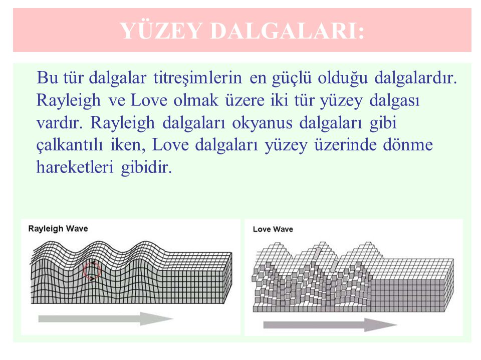 YÜZEY DALGALARI: Bu tür dalgalar titreşimlerin en güçlü olduğu dalgalardır. Rayleigh ve Love olmak üzere iki tür yüzey dalgası vardır. Rayleigh dalgal