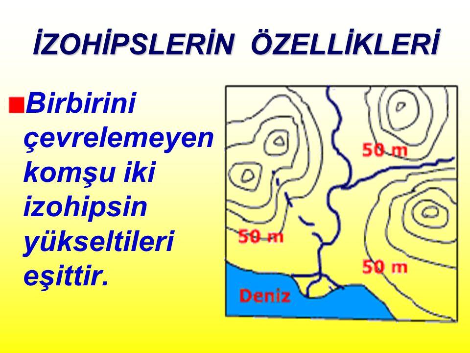 İZOHİPSLERİN ÖZELLİKLERİ Birbirini çevrelemeyen komşu iki izohipsin yükseltileri eşittir.
