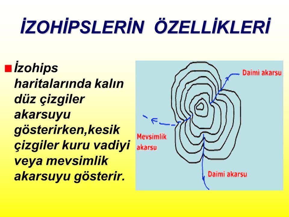 İZOHİPSLERİN ÖZELLİKLERİ İzohips haritalarında kalın düz çizgiler akarsuyu gösterirken,kesik çizgiler kuru vadiyi veya mevsimlik akarsuyu gösterir.