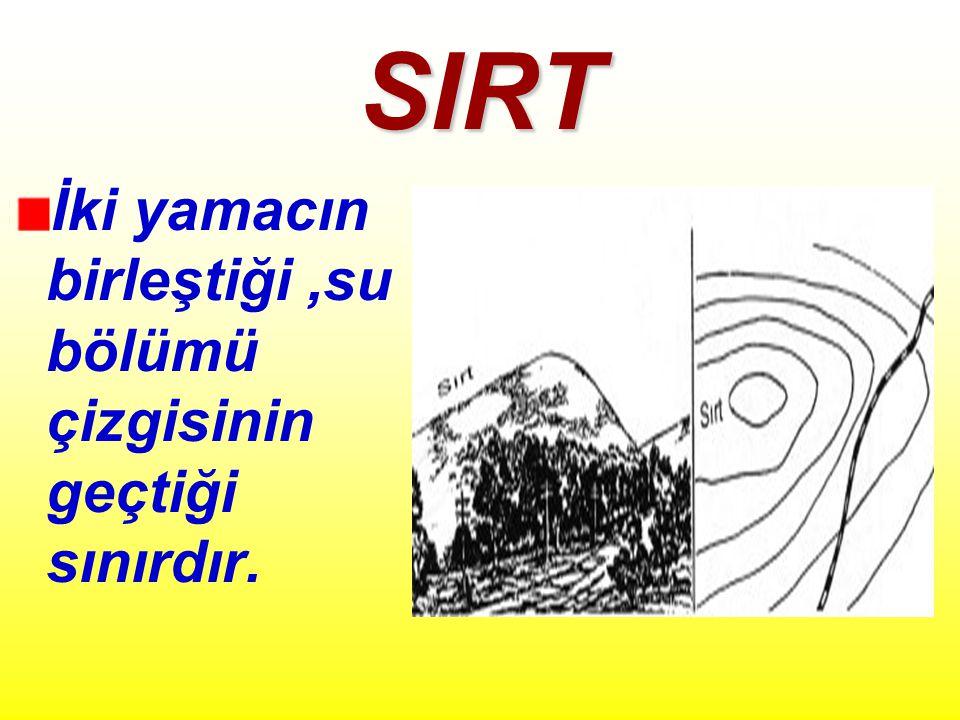 SIRT İki yamacın birleştiği,su bölümü çizgisinin geçtiği sınırdır.