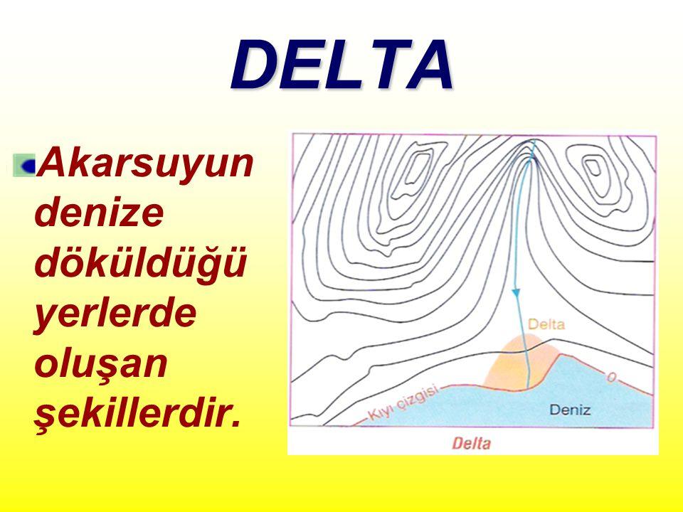DELTA Akarsuyun denize döküldüğü yerlerde oluşan şekillerdir.